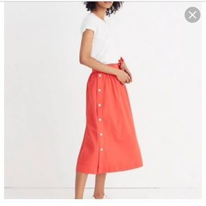 Madewell Side Button Midi Skirt in Red